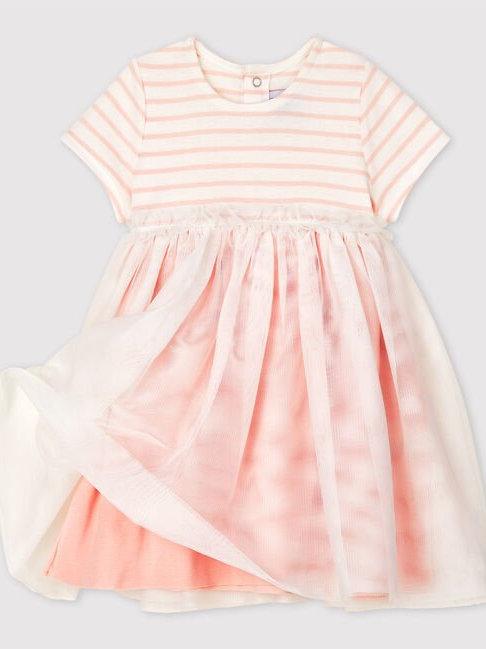 Petit Bateau Short-Sleeved Dual Tone Dress