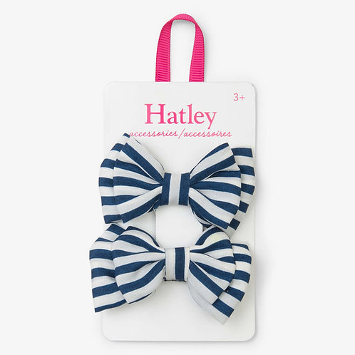 Hatley Navy Stripe Bows Hair Clips