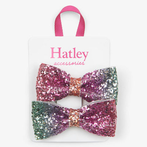 Hatley Prismatic  Glitter Bows Hair Clips