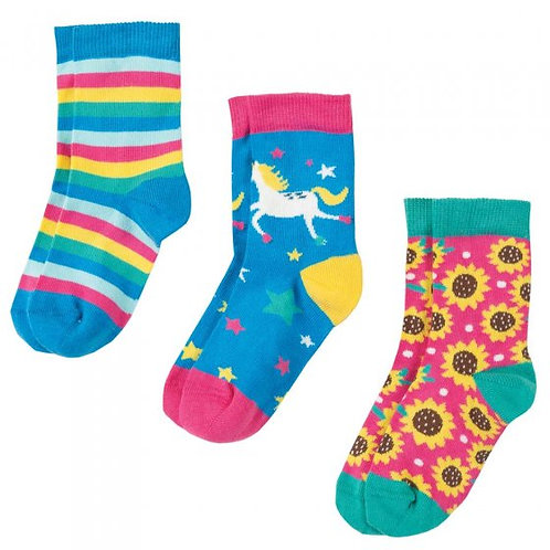 Frugi Susie Socks 3 pack Unicorn