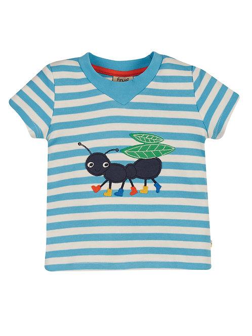 Frugi Easy On Tee, Mid Blue Stripe/Ant