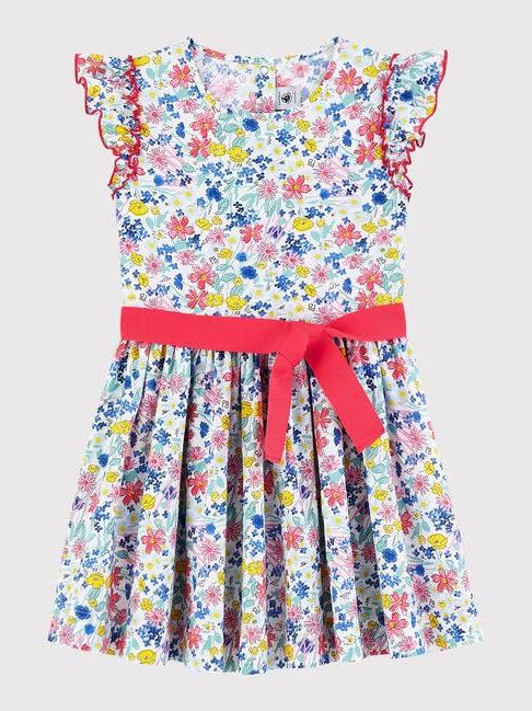 Petit Bateau Girl's Short-Sleeve Poplin Flower Dress