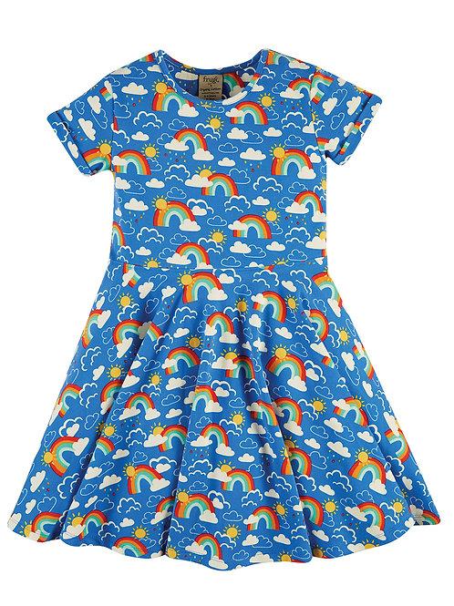 Frugi Spring Skater Dress, Rainbow Skies