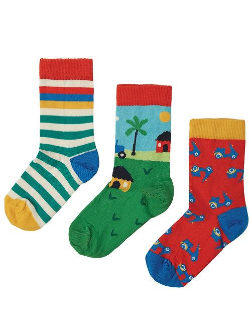 Frugi Rock My Socks 3 Pack, Tractor