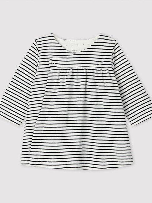 Petit Bateau White/Navy Stripe Wrapover Dress