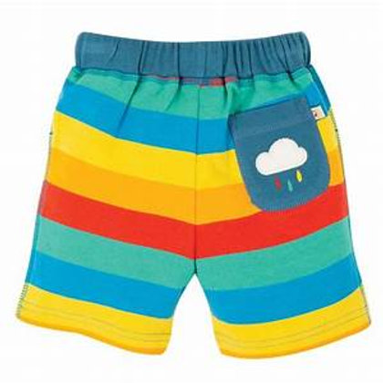 Frugi Little Stripy Shorts Multi Rainbow Stripe