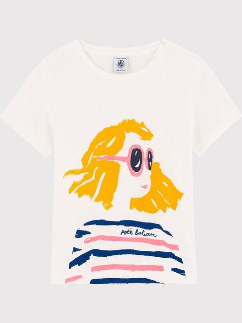 Petit Bateau Girls' Short-Sleeved Cotton T-Shirt