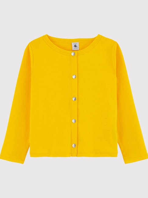 Petit Bateau Girls' Cotton Cardigan, Shine Yellow