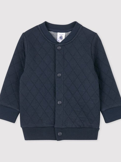 Petit Bateau Quilted Tube Knit Cardigan
