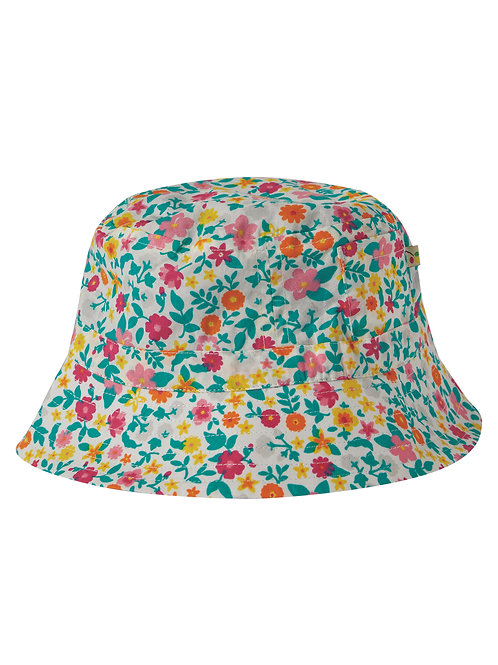 Frugi Hattie Reversible Hat, Ditsy Flower Valley