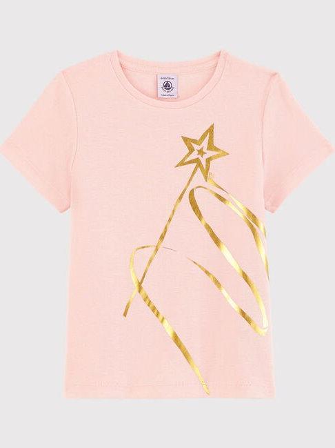 Petit Bateau Girls' Short-Sleeved Cotton Star Wand T-Shirt