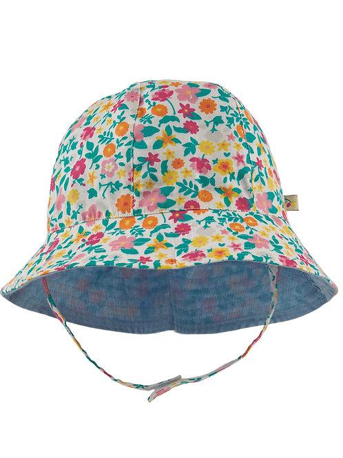 Frugi Chambray Reversible Hat, Soft White/Flowers