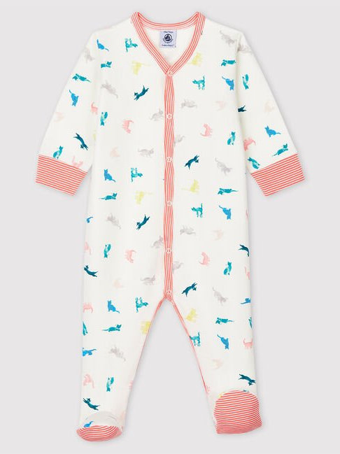 Petit Bateau Colourful Cats Double-Sided Jersey Sleepsuit