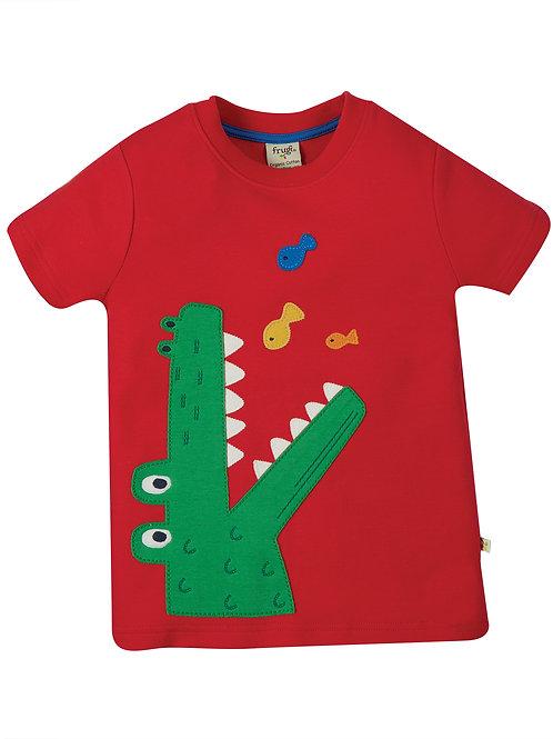Frugi Carsen Applique T-Shirt, True Red Croc