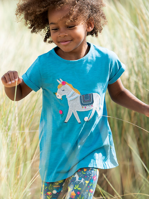 Frugi Ariella Applique Top, Sea Blue/Donkey