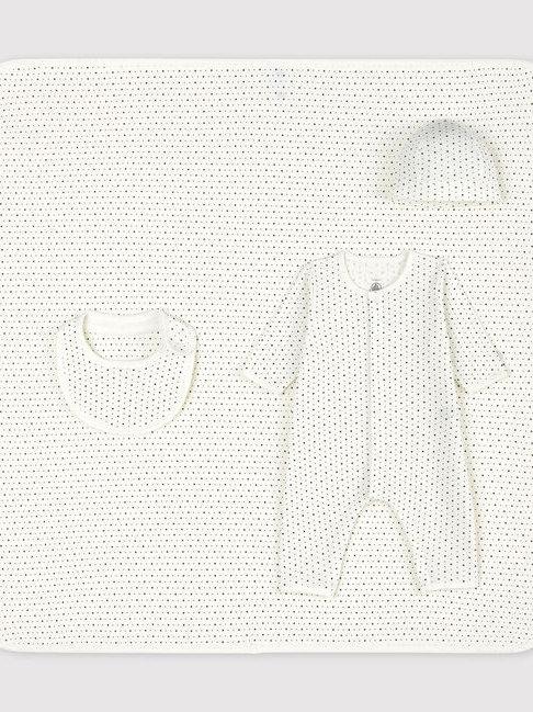 Petit Bateau Babies White Starry Organic Cotton Newborn Gift Set