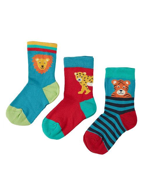 Frugi Little Socks, Big Cat Multipack