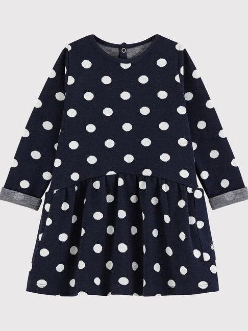 Petit Bateau Baby Navy Spotted Dress