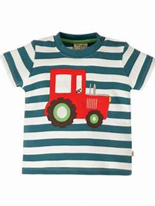 Frugi Little Wheels Appliqué Top, Steely Blue Stripe/Tractor