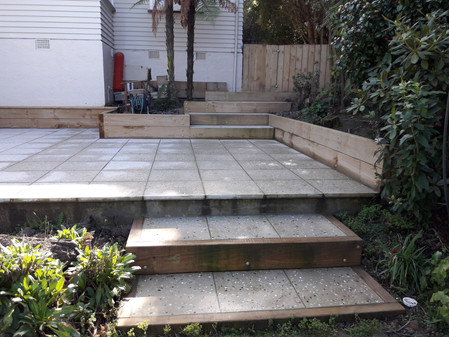 Paved patio with sleeper border retaining