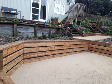 Timber retaining and limesand paths