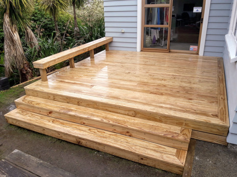 Wideboard pine rear deck and seating
