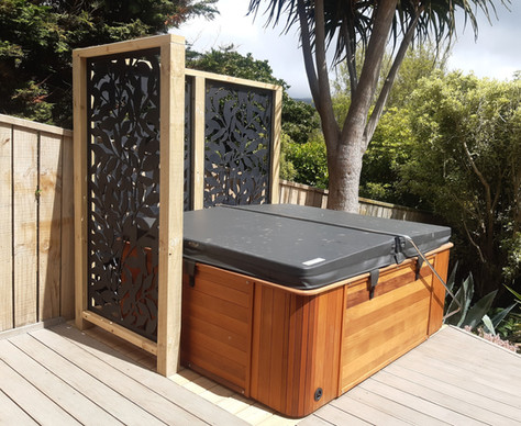 Strengthened deck and privacy screens for new spa