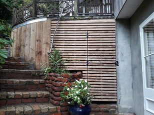 Pine sleeper retaining and slat screen