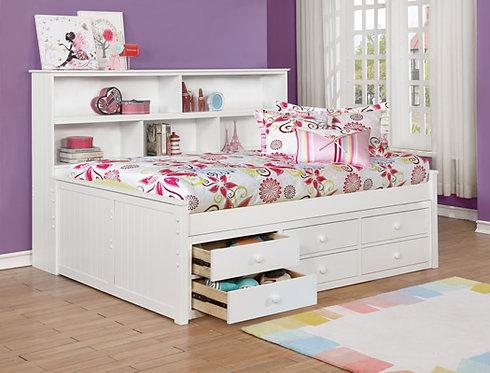 Sideways Bookcase Full Captain's Bed White