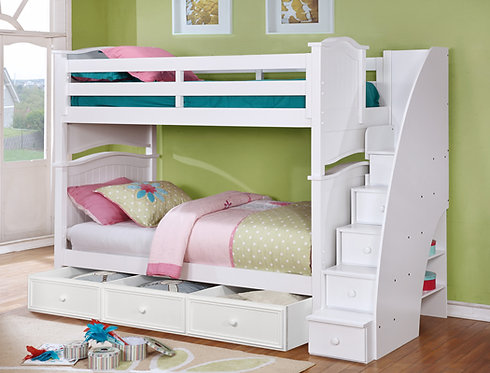 Ashton Twin/Twin Bunk Bed with Staircase and Trundle/Storage
