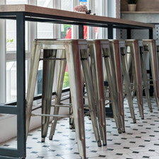 timber and steel table and chairs