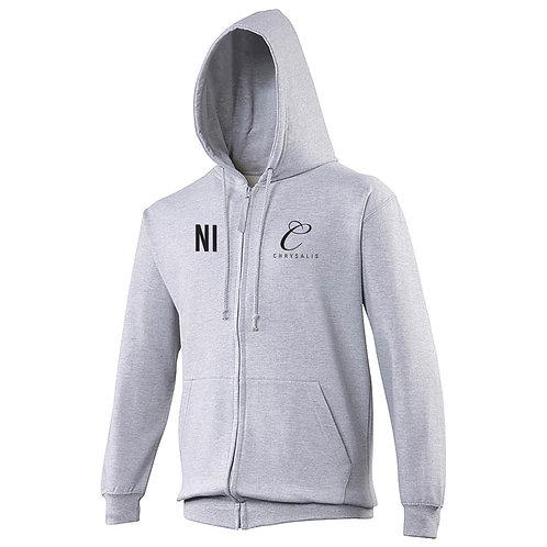 Chrysalis Zipped Hoodie Grey