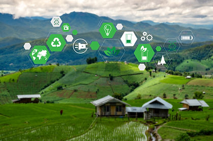 rural-village-in-vista-of-green-hills-and-valleys-with-eco-friendly-sustainability-and-ecologically-sound-icons-in-hexagons