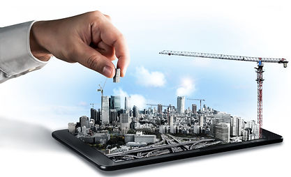 city-scape-3d-engineering-illustration-on-tablet-with-hand-moving-building-model