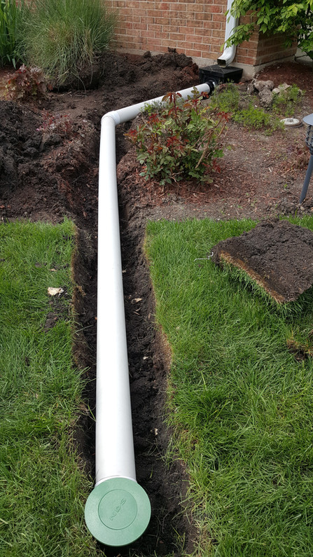 Buried Downspout Drain - Pacocha Landscaping Services
