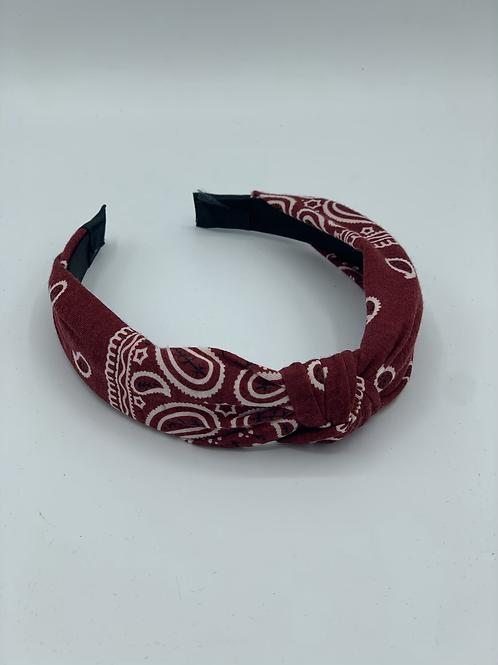 Bandana Knotted Headband Deep Red
