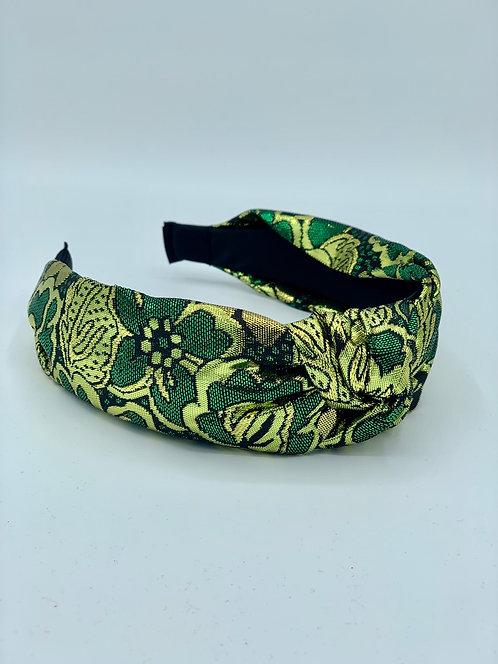 Brocade Knot Headband Green