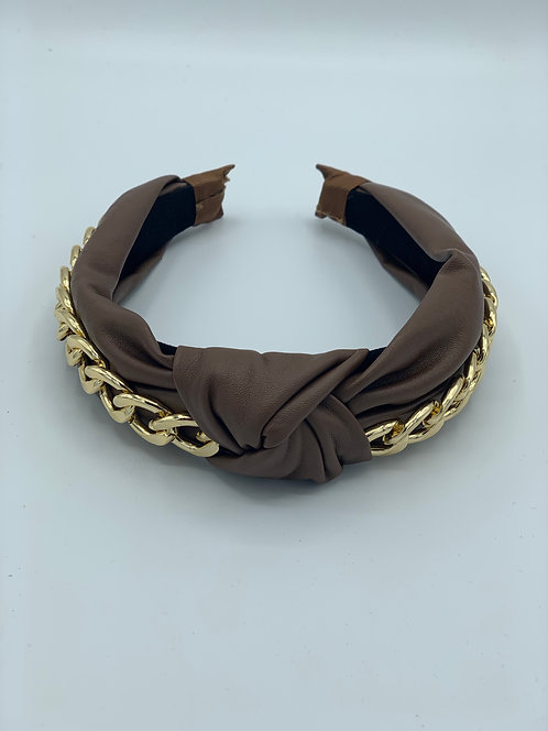 Macie Chain Faux Leather Headband Tan