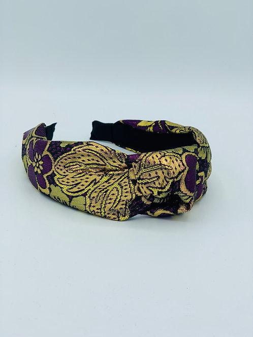 Brocade Knot Headband Purple