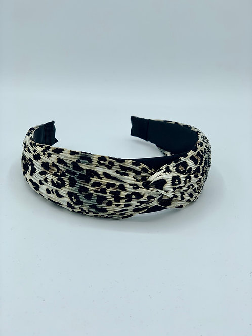 Polka Dot Twist Headband Leopard