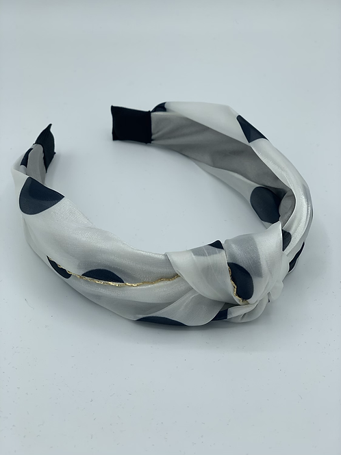 Polka Dot Headband White