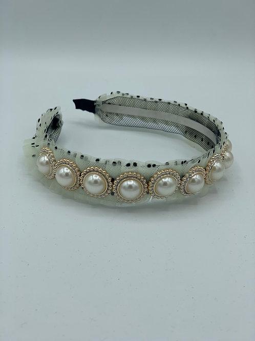 Slim Pearl Ruffle Headband Cream Polka