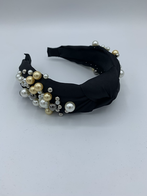 Knot Pearl Fabric Headband Black