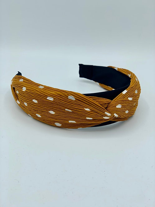 Polka Dot Twist Headband Tan