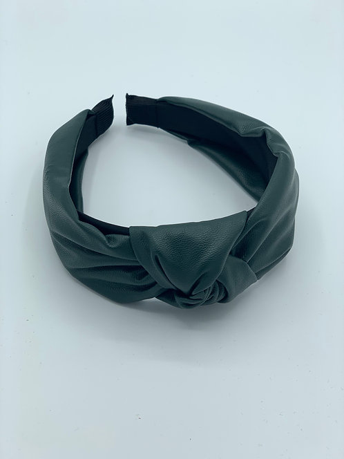 Macie Faux Leather Headband Green