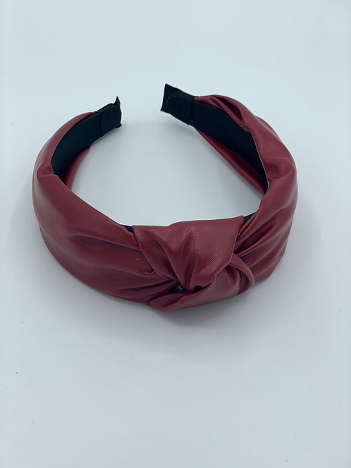 Macie Faux Leather Headband Red