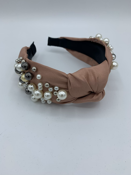 Knot Pearl Fabric Headband Pink