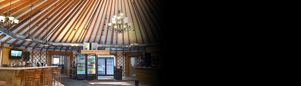nomad shelter alaskan yurt commercial ski resort cafe interior