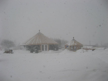 nomad shelter alaskan yurt in extreme winter conditions