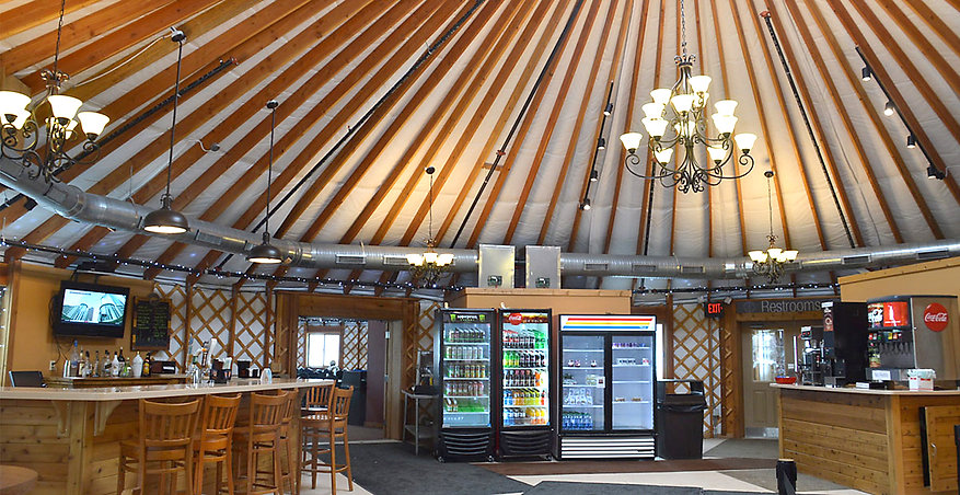 nomad shelter alaskan yurt commercial ski resort cafe interior